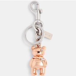 NEW Coach 3d bear bag charm rose gold